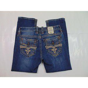 Rock Revival Men 33 x 28 Valance Straight Blue Jeans Dark Wash Flap Thick Stitch